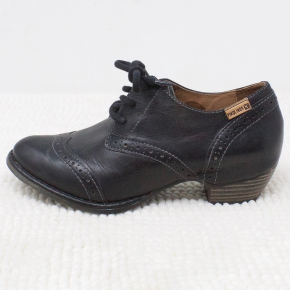 31552249 Pikolinos Black Leather Lace Up Shoes Size 37 US 7.  M_5cd5ed441528121171bed881